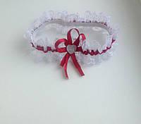 Подвязка невесты Бордо кружево