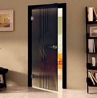 Дверь межкомнатная из серого стекла