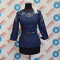 Модная школьная блузка на девочку  с вышивкой под пояс