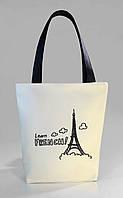 """Женская сумка """"Leam French"""" Б368 - белая с черными ручками"""
