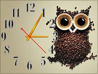 Настенные часы картина Сова кофе, Кофейные зерна, кварцевые (30х40 см), часы для дома, часы картина