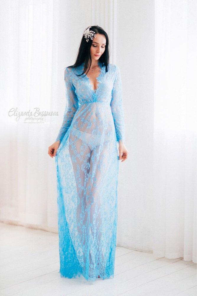 199bb08f026a Длинное кружевное платье-пеньюар для фотосессии, интима, пляжная ...
