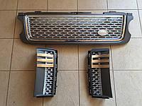 Решетка и жабры Range Rover Vogue 2009-2013 (серая решетка + серая сетка)