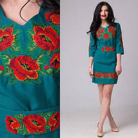 """Зеленое платье с вышивкой """"Маки"""""""