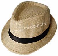 """Шляпа детская """"Пижон"""" Гавайская (желтая с атласной полосой)"""