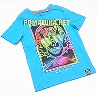 Детская футболка для мальчика р. 122-128 ткань КУЛИР 100% тонкий хлопок 1008 Голубой 128