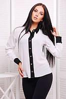 Офисная белая женская блуза Классика Fashion UP 42-46 размеры
