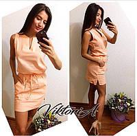 Яркое платье лён код 9, цв.персик