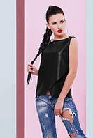 Черная женская блуза Geneva Fashion UP 42-48 размеры