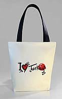 """Женская сумка """"I love Turkey"""" Б376 - белая с черными ручками"""