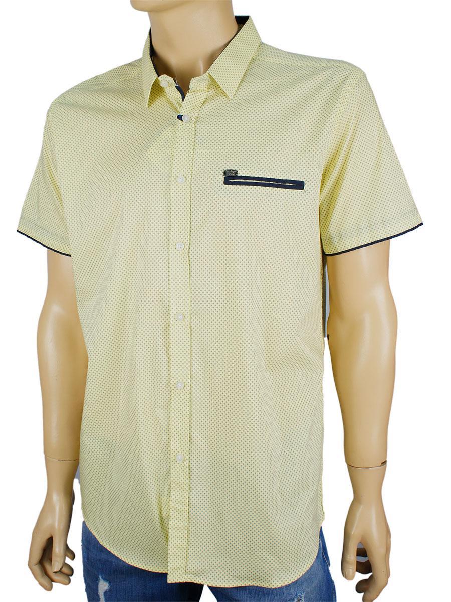 Рубашка мужская Еnisse EGK1343-KZ1292V20 с принтом в лимонном  цвете
