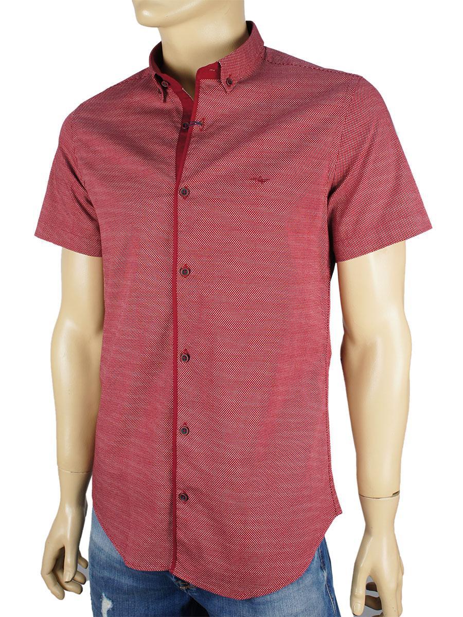 Рубашка Desibel 5058 H #01. с принтом цвет бордо