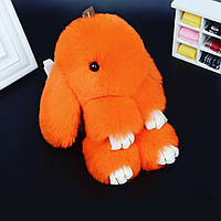 Меховой брелок на сумку заец-кролик (натуральный мех рекса) оранжевый яркий Fendi пушистый кролик