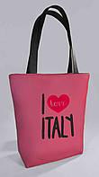 """Женская сумка """"I love Spain"""" Б379 - розовая с черными ручками"""