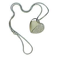 Флешка кулон сердце на цепочке в подарочном бархатном футляре