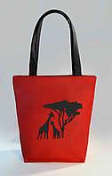 """Женская сумка """"Африка"""" Б380 - красная с черными ручками"""