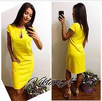 Платье Лен №68  цв. желтый