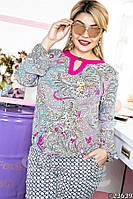 Красивая блузка свободного кроя пестрый принт