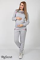 Стильные спортивные брюки для беременных Noks, серый меланж+принт цветы