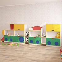 Стенка для игрушек ПАРОВОЗ (4100*400*1250h), фото 1