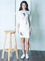 Женский летний костюм кофта+юбка Кэт белый