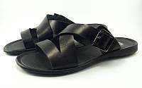 Кожаные шлепки с пряжкой черные (Модель 123/1)