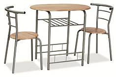 Комплект столовый стол стулья деревянный кухонный обеденный на кухню дуб сонома GABO 80x53 (Signal)