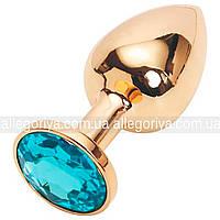 Анальный стимулятор золотая пробка  с кристаллом
