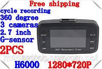 Видеорегистратор H6000 3 камеры, круговой обзор