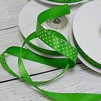 Лента сатиновая шириной 12 мм,  цвет - зелёный, с точками