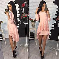 27d639917a0 Платье с баской и перфорацией асимметричного кроя 5 цветов SMol1019