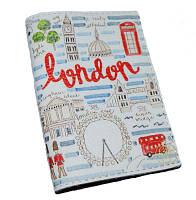 """Кожаная обложка на паспорт """"Прогулка по Лондону"""""""