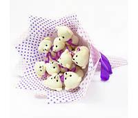 Букет из игрушек Мишки 9 розово-фиолетовый Крафт