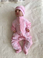"""Комбинезон на выписку для девочки """"Мальвина"""", розовый с белым интерлок, фото 1"""