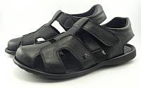 Закрытые сандалии на липучке черные (Модель 634/1)