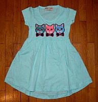 Детские платья для девочки Котенята бирюза 3-6 лет.