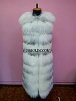 Жилет из меха полярной лисы, поперечная раскладка меха, длина 120см, фото 1