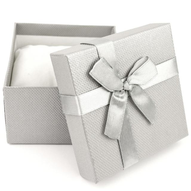 Подарочная коробка с подушечкой для часов или браслета серая