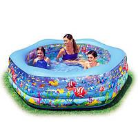 Детский надувной бассейн с надувным дном Intex191x178x61см  Океанский риф