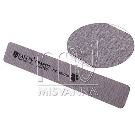 Пилка Salon Professional Granite Series ZW 100/100, прямоугольная серая, фото 2