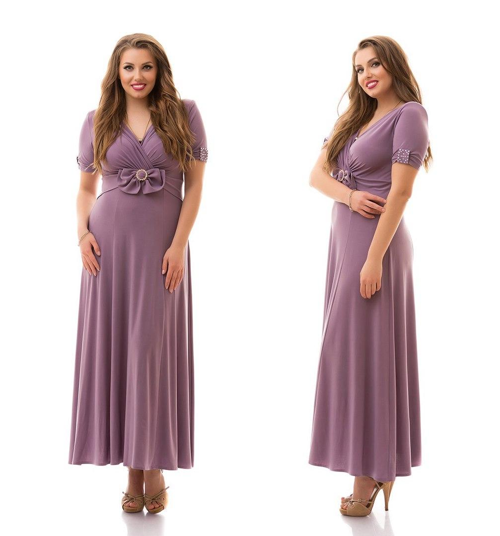 Платье батал трикотаж в пол
