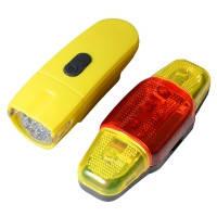 Велофара + задний фонарь для велосипеда KK890 ( 8LED/5LED, 3хAAA), желтый