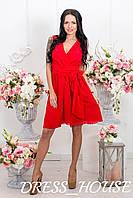 Платье Запах из шифона р. S-L красный
