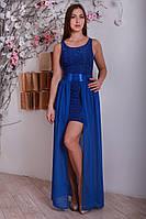 Стильное гипюровое платье с длинной шифоновой юбкой