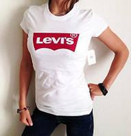"""Футболка женская """"Levis"""" левис белая с красным"""