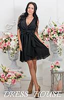 Платье Запах из шифона р. S-L черный