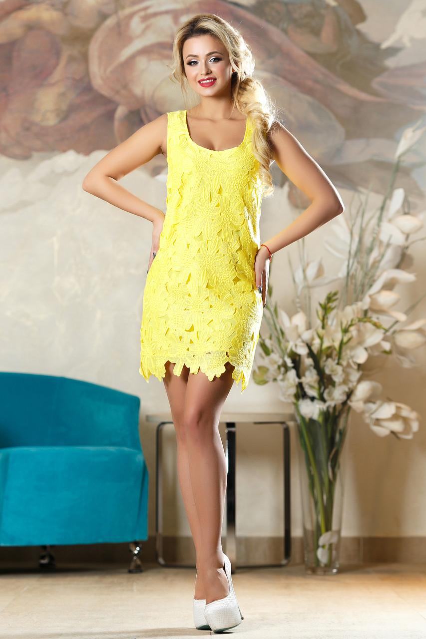 0a59cc465b89fc6 Эффектное Короткое Платье с Роскошными Цветами Желтое S-XL - купить ...