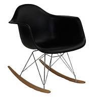 Кресло качалка с буковыми полозьями Лаунж (Тауэр R) черное Реплика на кресло-качалку Eames RAR Style