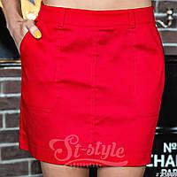 Облегающая женская мини юбка с карманами