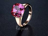 Кольцо Жасмин 18К золото проба с розовым кристаллом